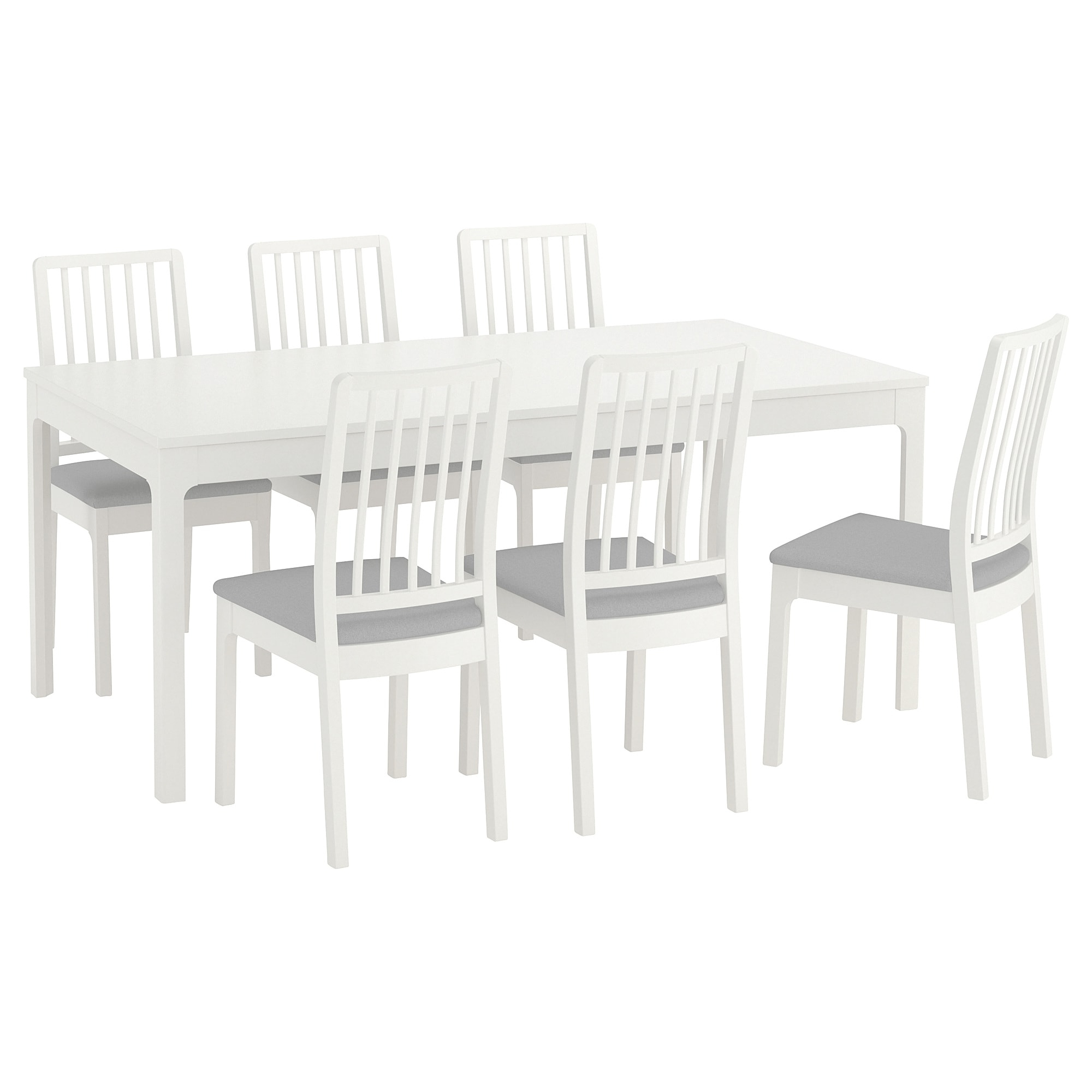 Dining Tables With Grey Chairs Pertaining To Popular Ekedalen/ekedalen Table And 6 Chairs White/ramna Light Grey 180/ (View 24 of 25)