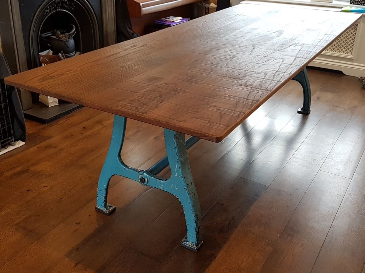 Dining Tables With Large Legs Inside Preferred Industrial Based Dining Tables From Recycled Steel And Iron With Oak (View 7 of 25)