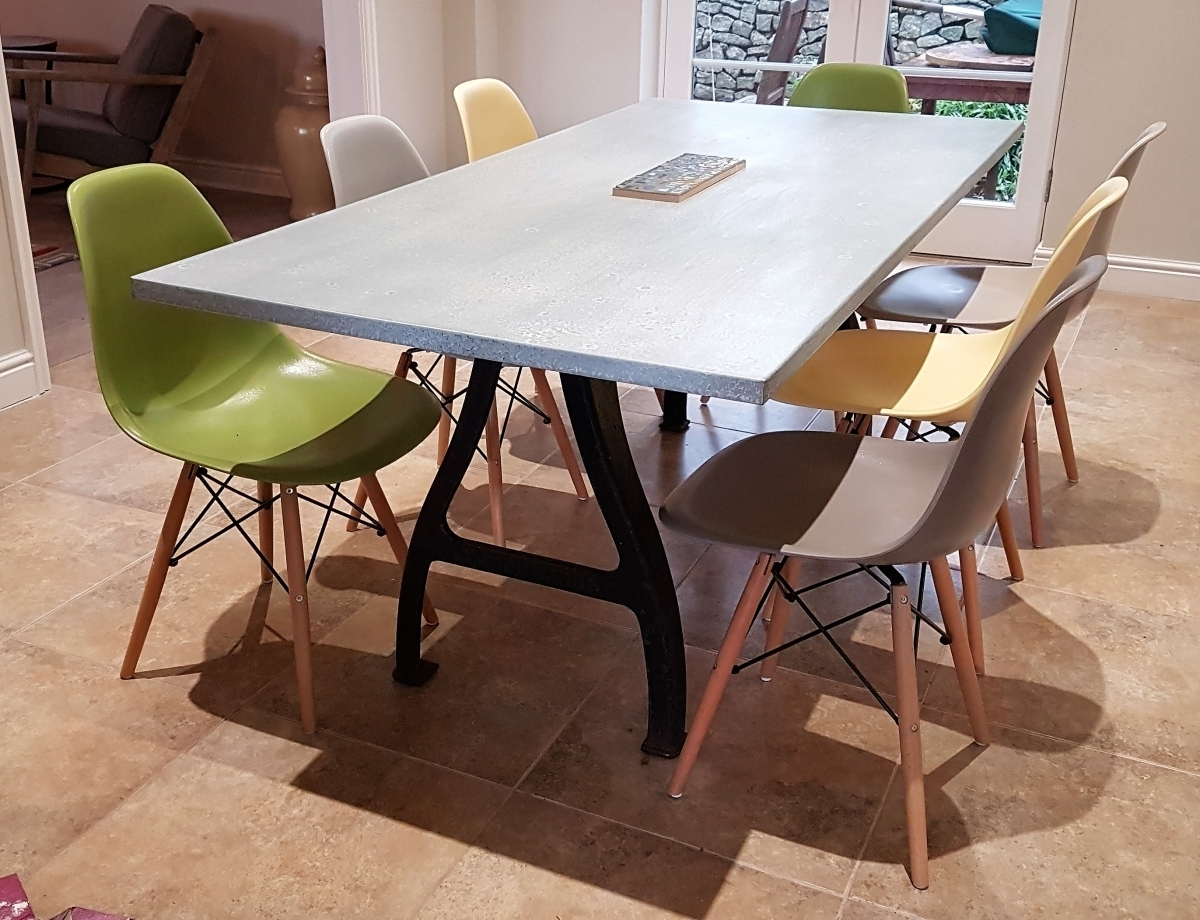 Dining Tables With Large Legs With Famous Industrial Based Dining Tables From Recycled Steel And Iron With Oak (View 13 of 25)