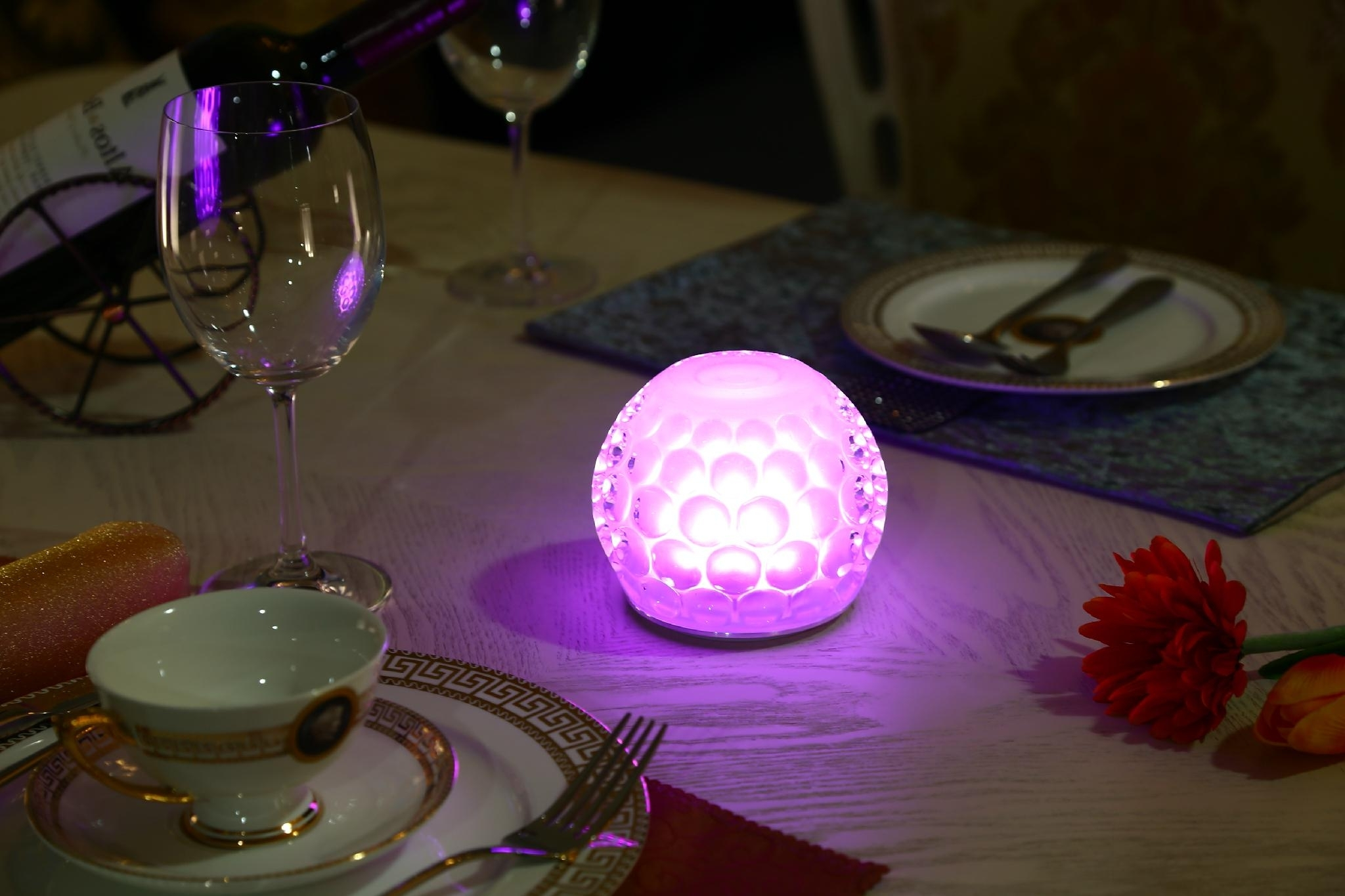 Dining Tables With Led Lights Regarding Widely Used Wireless Rechargeable Battery Operated Restaurant Hotel Led Dining (View 11 of 25)