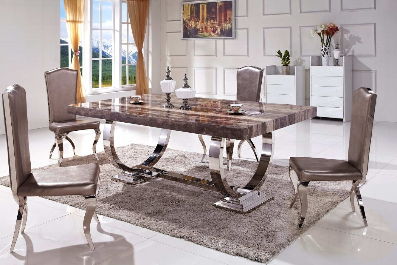 Dining Tables With Metal Legs Wood Top Inside Famous China Hot Sale Stable Metal Legs Marble Top Dining Table (Ct  (View 22 of 25)