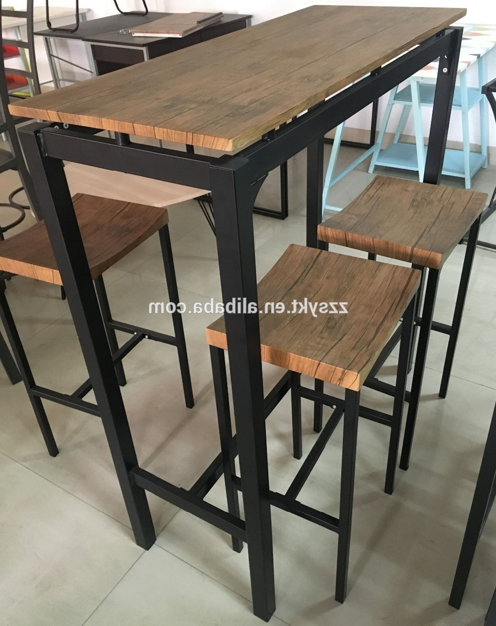 Dining Tables With Metal Legs Wood Top Pertaining To 2018 Modern Lounge Pub Furniture Metal Legs Frame Wood Top Bar Dining (View 19 of 25)