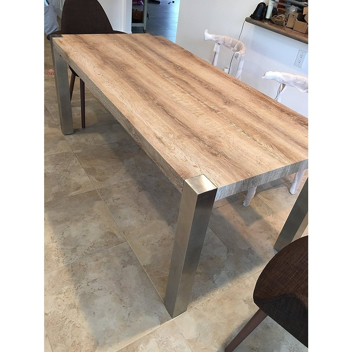 Dining Tables With Metal Legs Wood Top Pertaining To Most Recent Shop 2Xhome – Modern Designer Wood Top Dining Table With Metal Legs (Gallery 1 of 25)