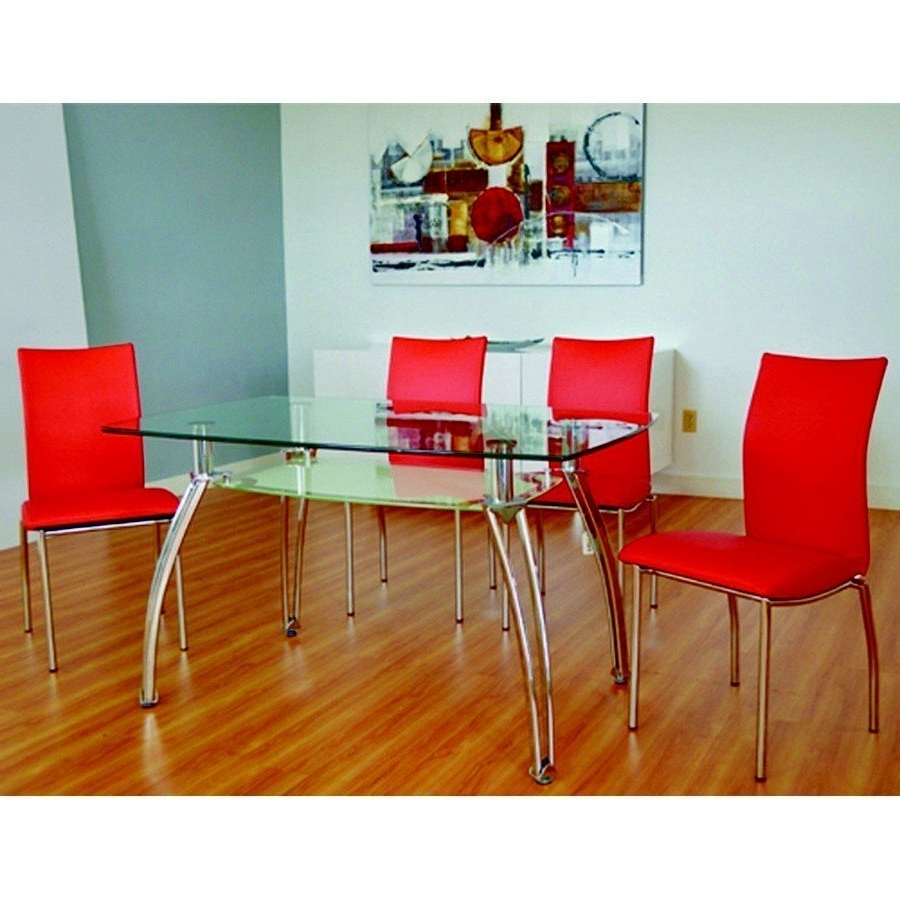 Dining Tables With Metal Legs Wood Top With Most Current Dining Room Furniture Ka 6093B Dining Table Clear Glass Top + Chome (Gallery 23 of 25)
