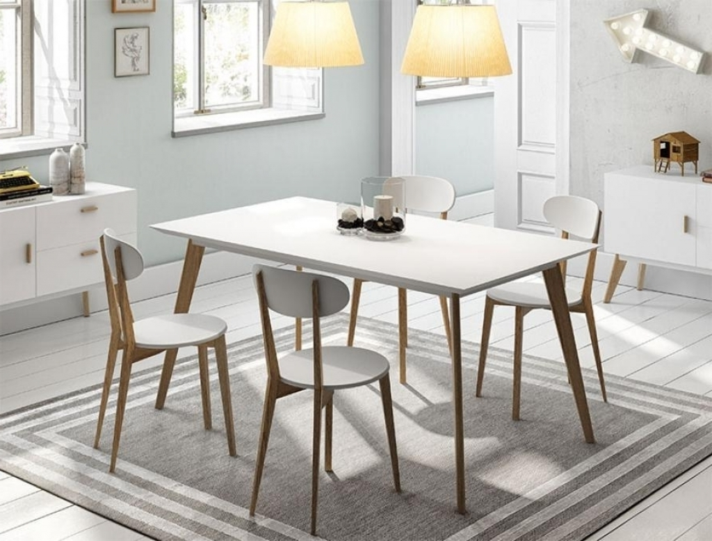 Dining Tables With White Legs And Wooden Top throughout Well-liked White Painted Solid Wood Large Dining Table Halifax 200