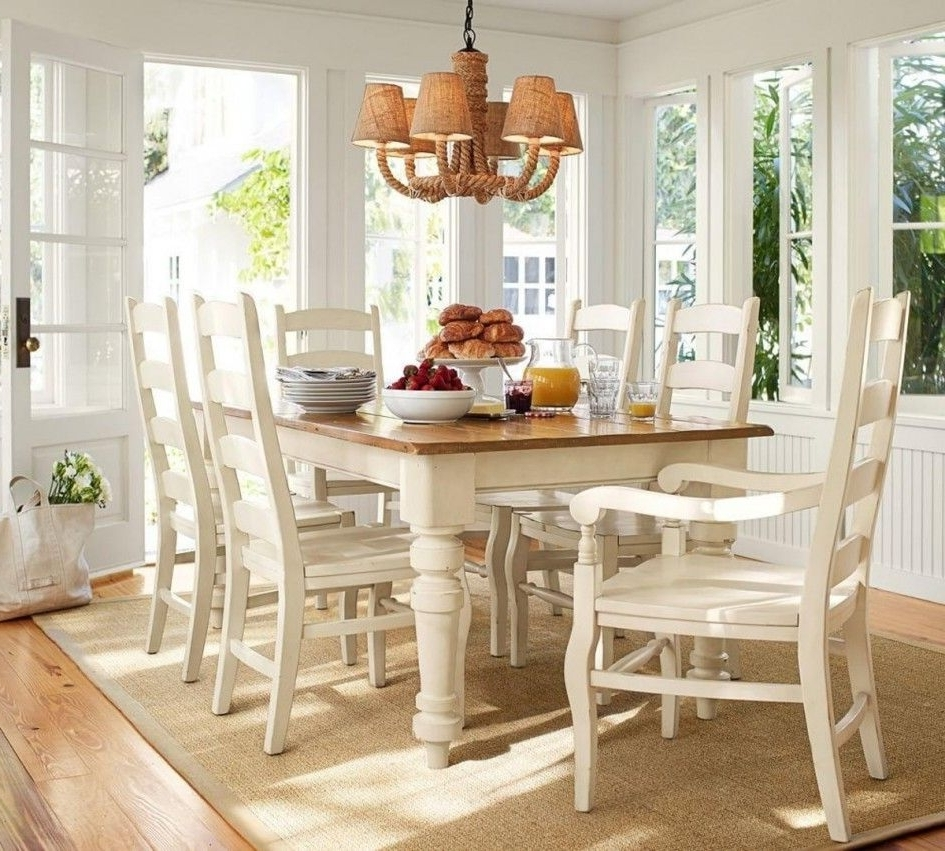 Dining Tables With White Legs And Wooden Top With Popular Tables & Chairs Sumner Pottery Barn Extending Kitchen Table Thick (Gallery 5 of 25)