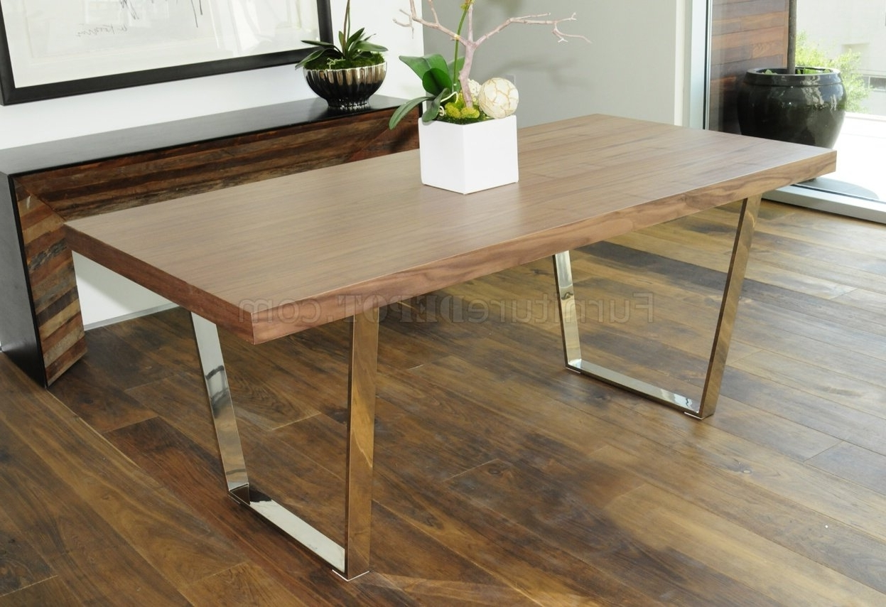 Dining Tables With White Legs Intended For Famous Walnut, Espresso Or White Modern Dining Table W/metal Legs (View 2 of 25)