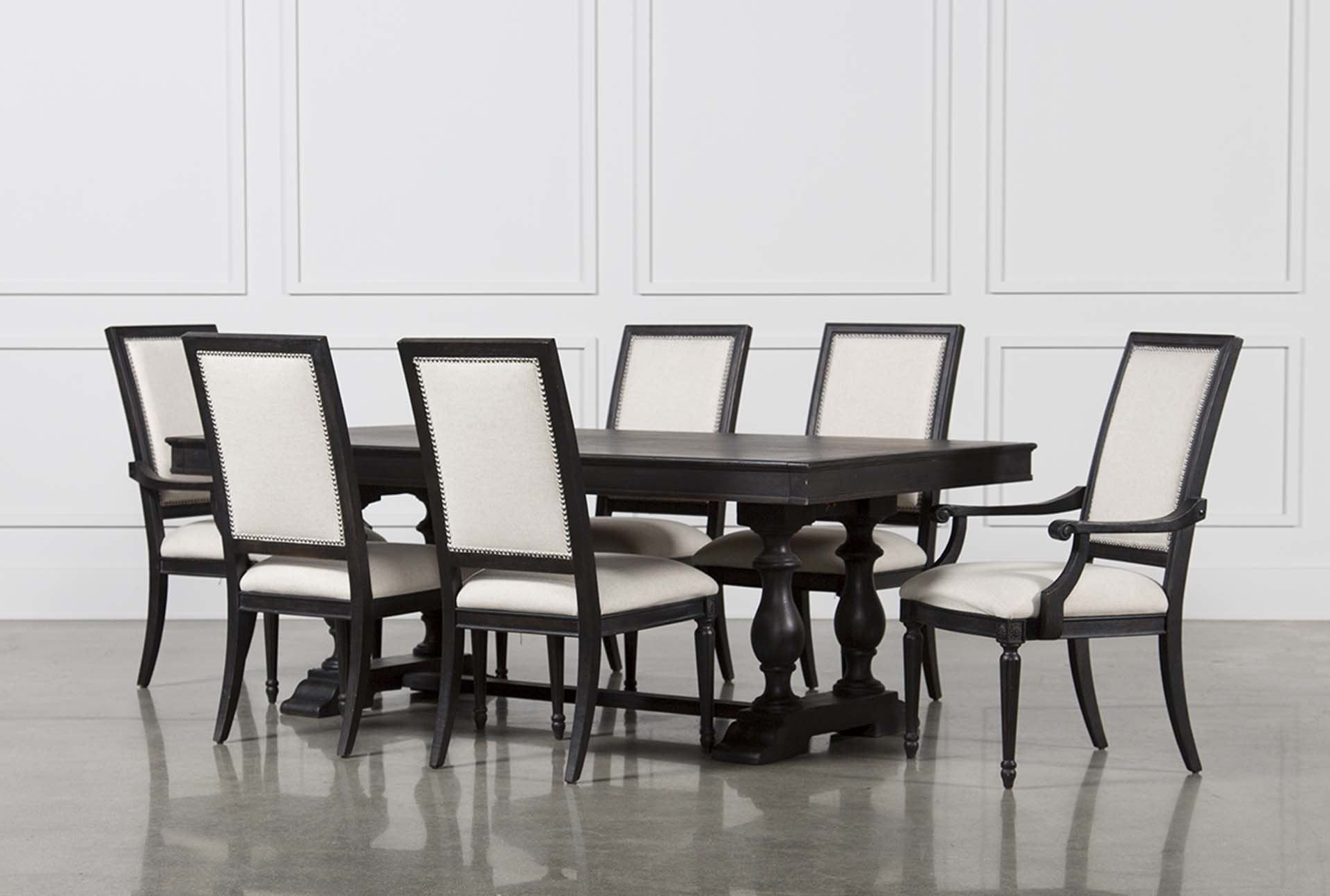 Dining within Well known Caira Black 7 Piece Dining Sets With Upholstered Side Chairs
