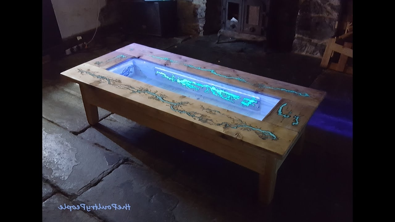 Diy Pallet Coffee Table – Glow In The Dark Wood Projects With Within Recent Dining Tables With Led Lights (View 10 of 25)