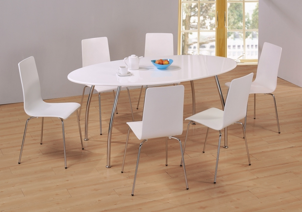 Dockland Prestige Residential » Fiji High Gloss Oval Dining Set inside Most Current White Oval Extending Dining Tables