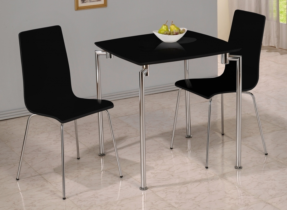 Dockland Prestige Residential » Fiji High Gloss Small Dining Set Black With Recent Dining Table Sets For 2 (Gallery 19 of 25)