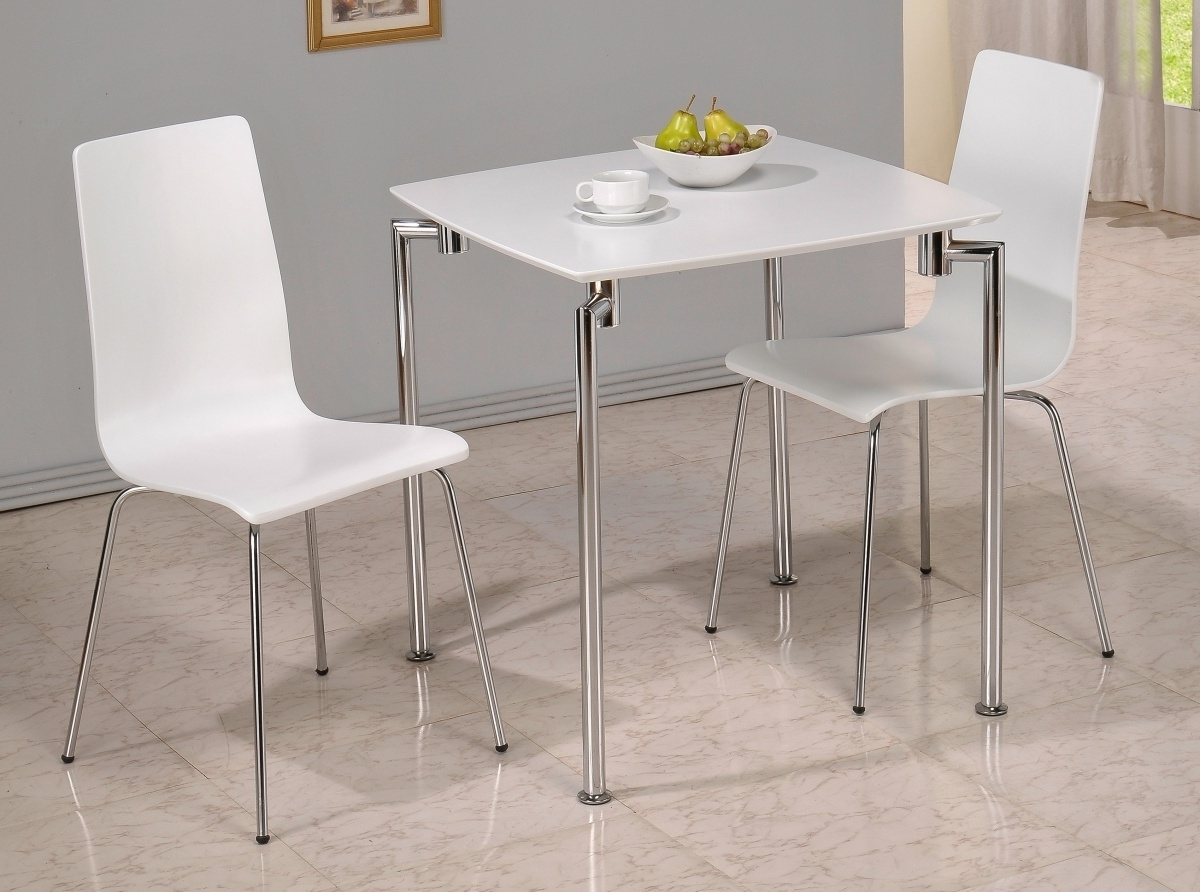 Dockland Prestige Residential » Fiji High Gloss Small Dining Set White Throughout Well Known Compact Dining Tables And Chairs (View 7 of 25)