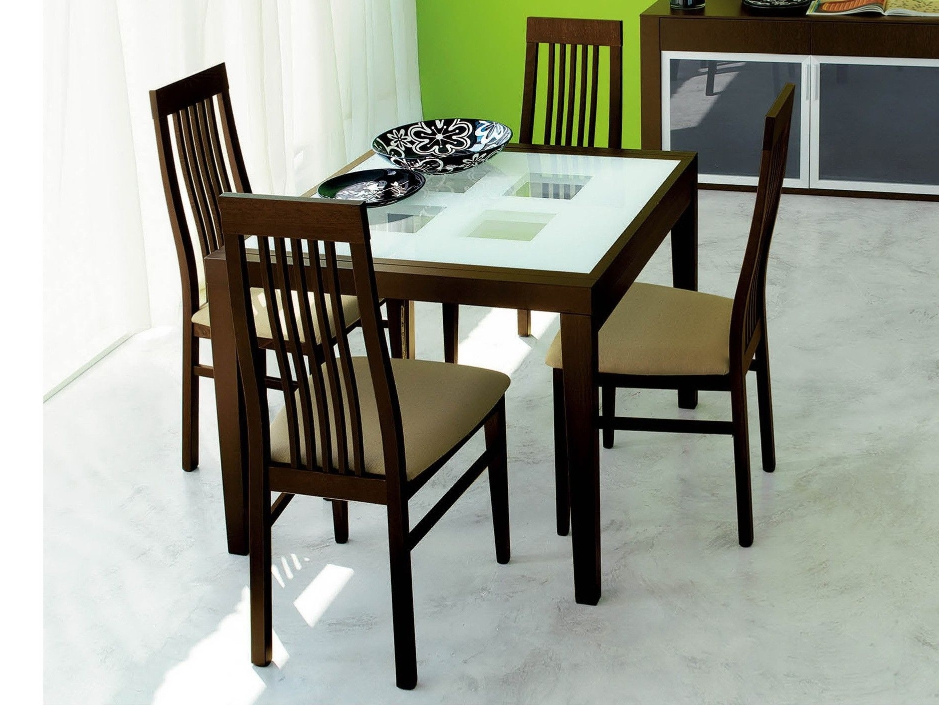 Domitalia Poker Frosted Glass Dining Room - Modern Dining Room Set for Well known Smoked Glass Dining Tables And Chairs