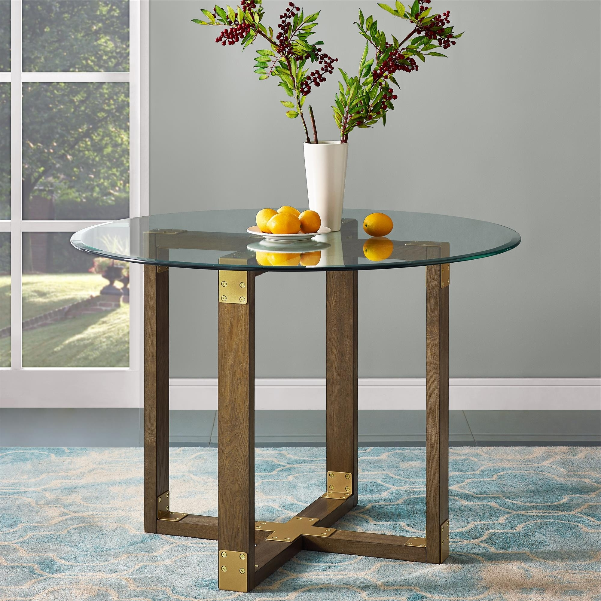 Dorel Living Bronx Glass Top Dining Table, Rustic Oak (Gallery 14 of 25)