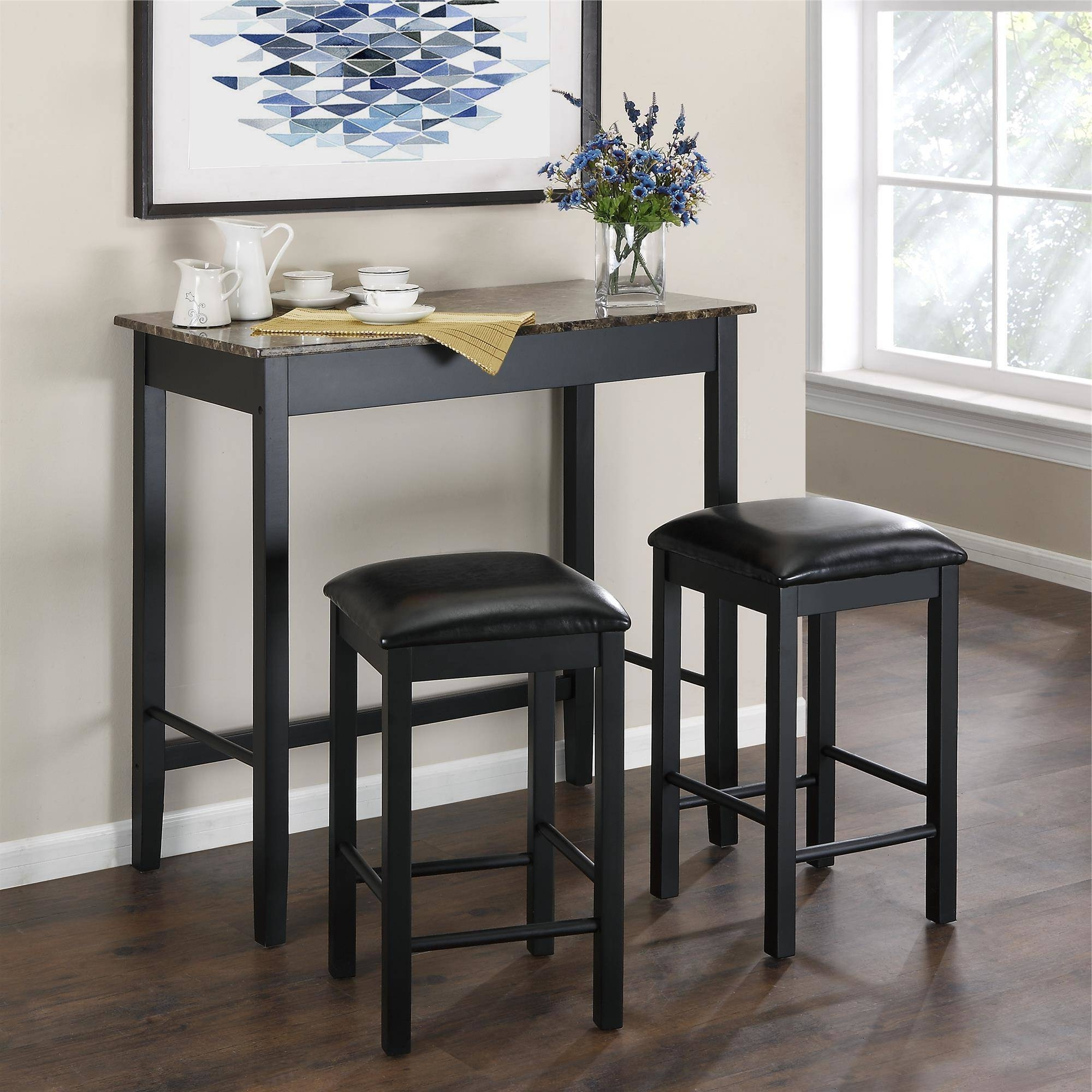 Dorel Living Devyn 3 Piece Faux Marble Pub Dining Set, Black In Recent Black Wood Dining Tables Sets (View 10 of 25)