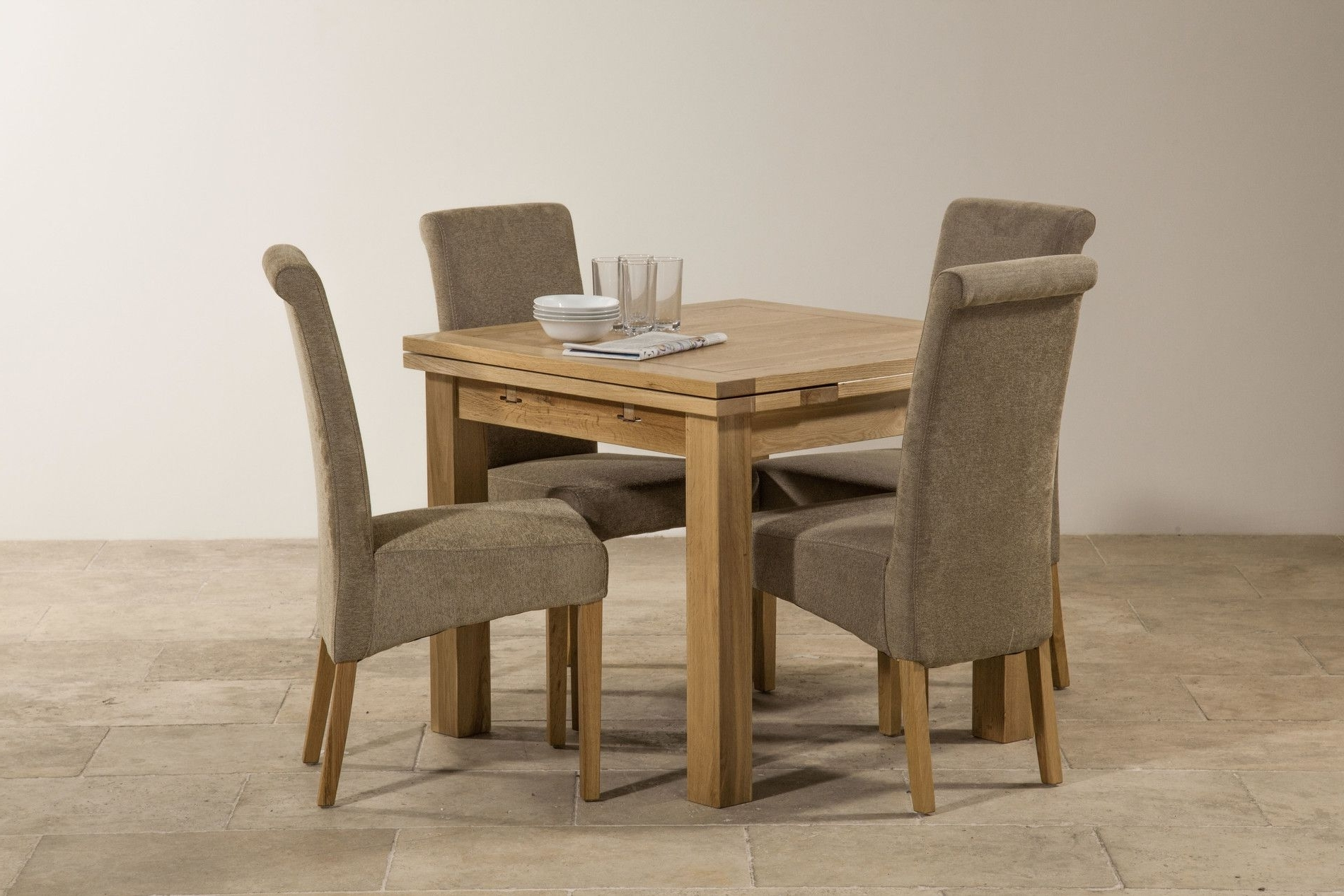 Dorset 3Ft X 3Ft Solid Oak Extending Dining Set With 4 Sage Fabric For Newest Oak Dining Tables And Fabric Chairs (View 18 of 25)