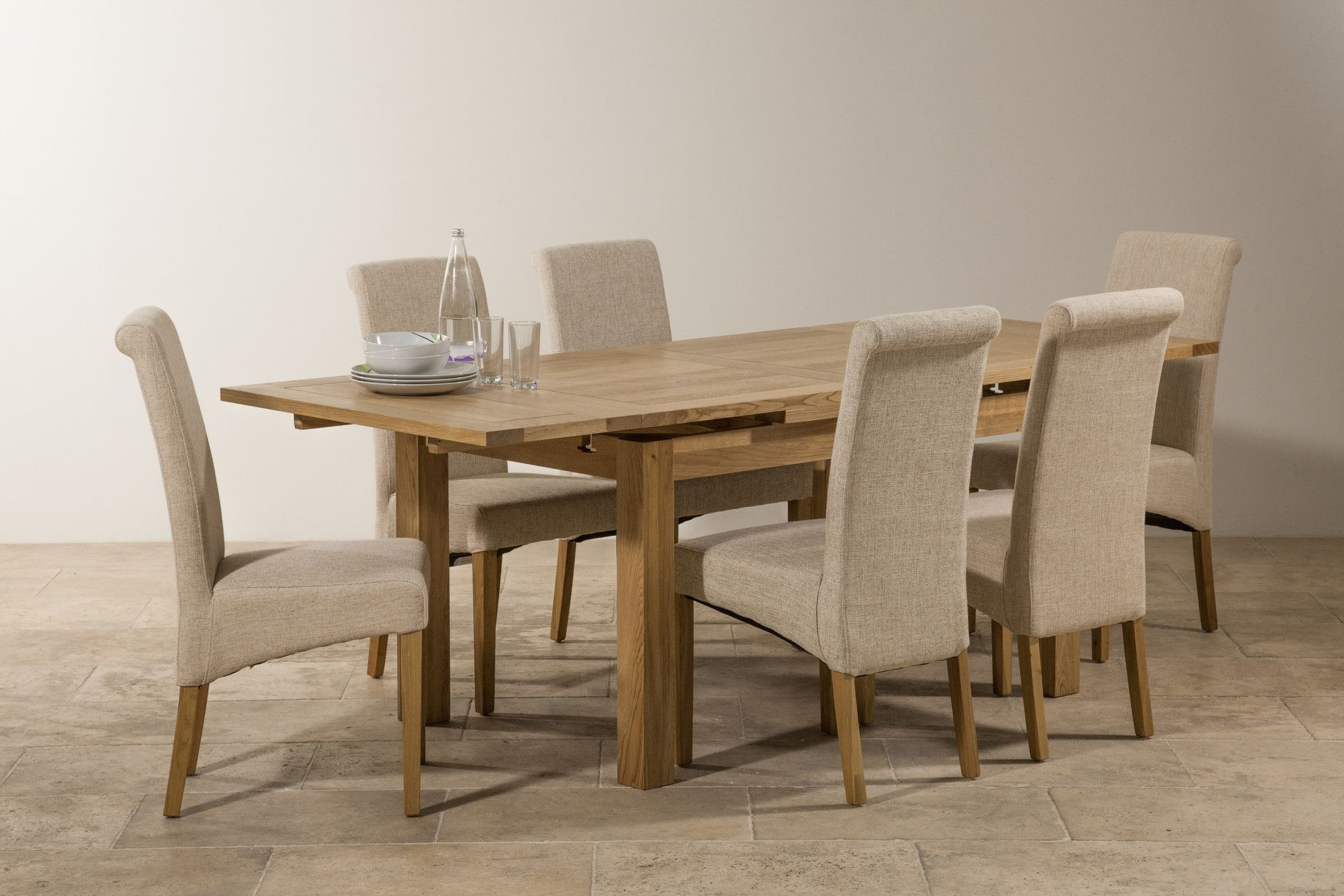 "Dorset Natural Solid Oak 4Ft 7"" Extending Table With 6 Scroll Back Within Latest Oak Dining Tables And Fabric Chairs (View 16 of 25)"