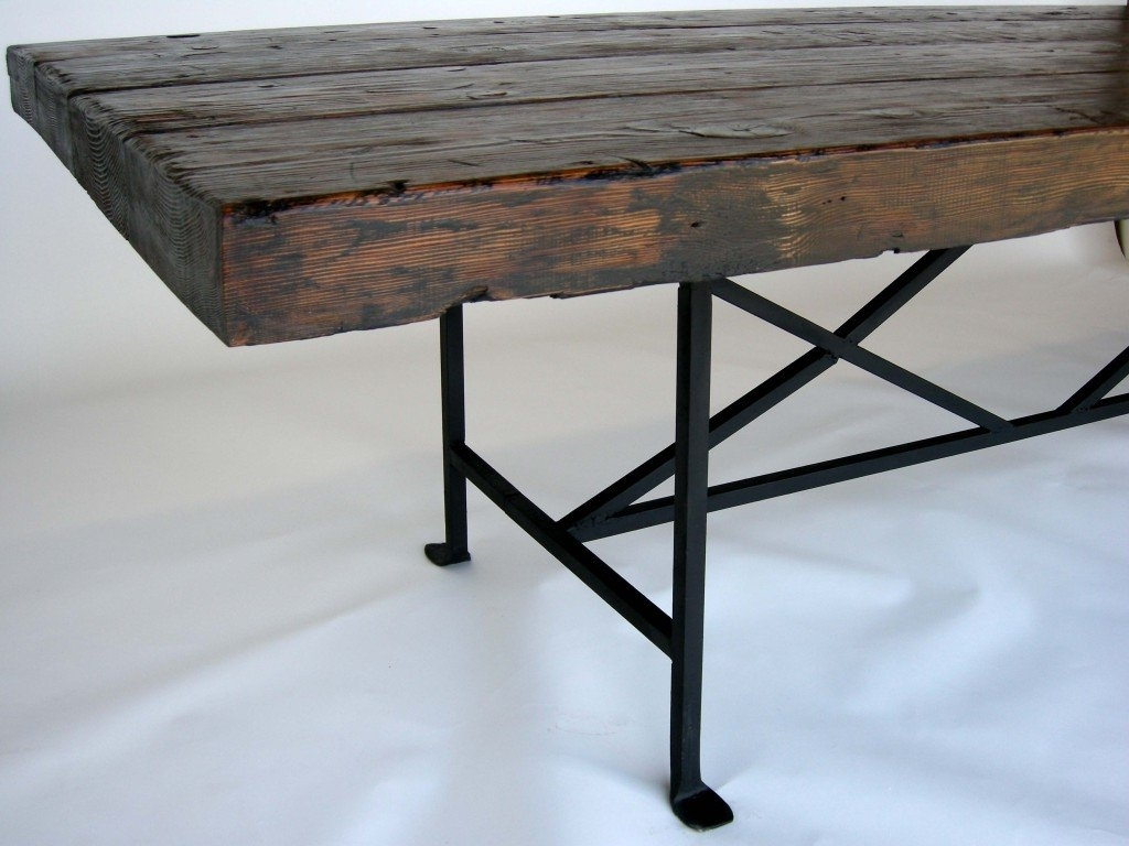 Dos Gallos Custom Reclaimed Wood Dining Table With Hand Forged Iron Within Most Recently Released Iron And Wood Dining Tables (View 4 of 25)