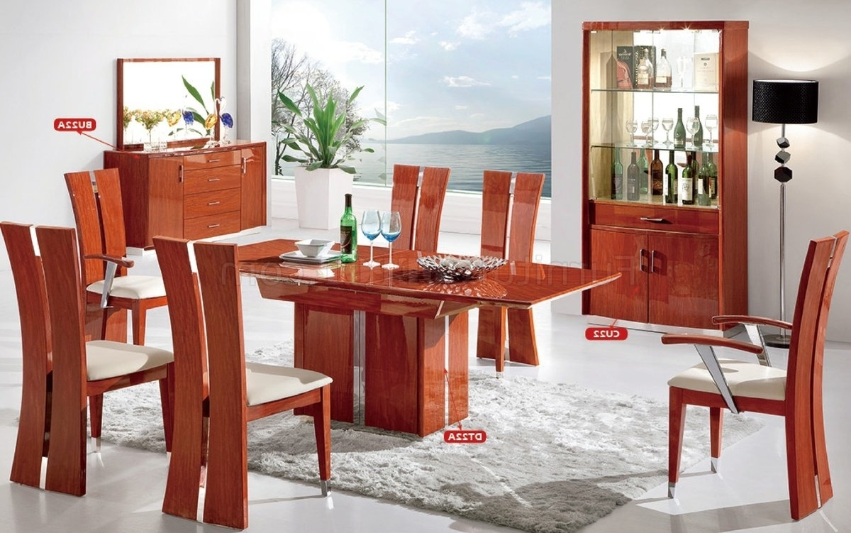 Dt22A Dining Table In Cherry High Glosspantek W/options for Favorite Red Gloss Dining Tables