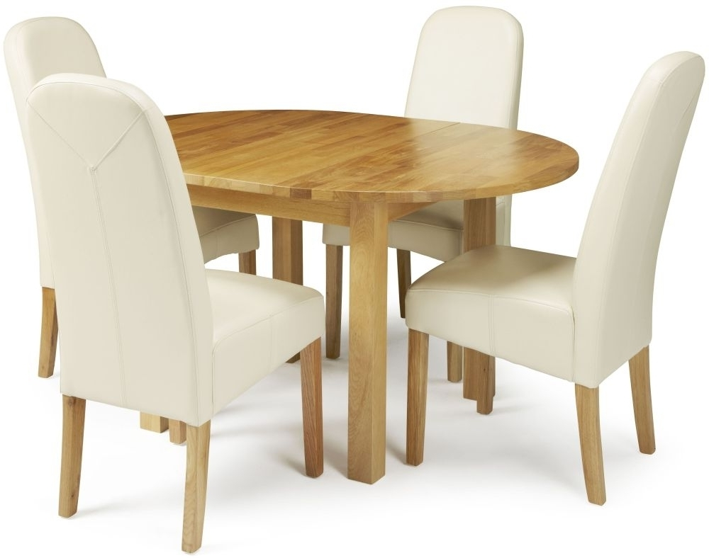 Dutton Oak Round Extending Dining Set With 4 Marlow Cream Faux With Regard To Most Recent Cream Faux Leather Dining Chairs (View 16 of 25)