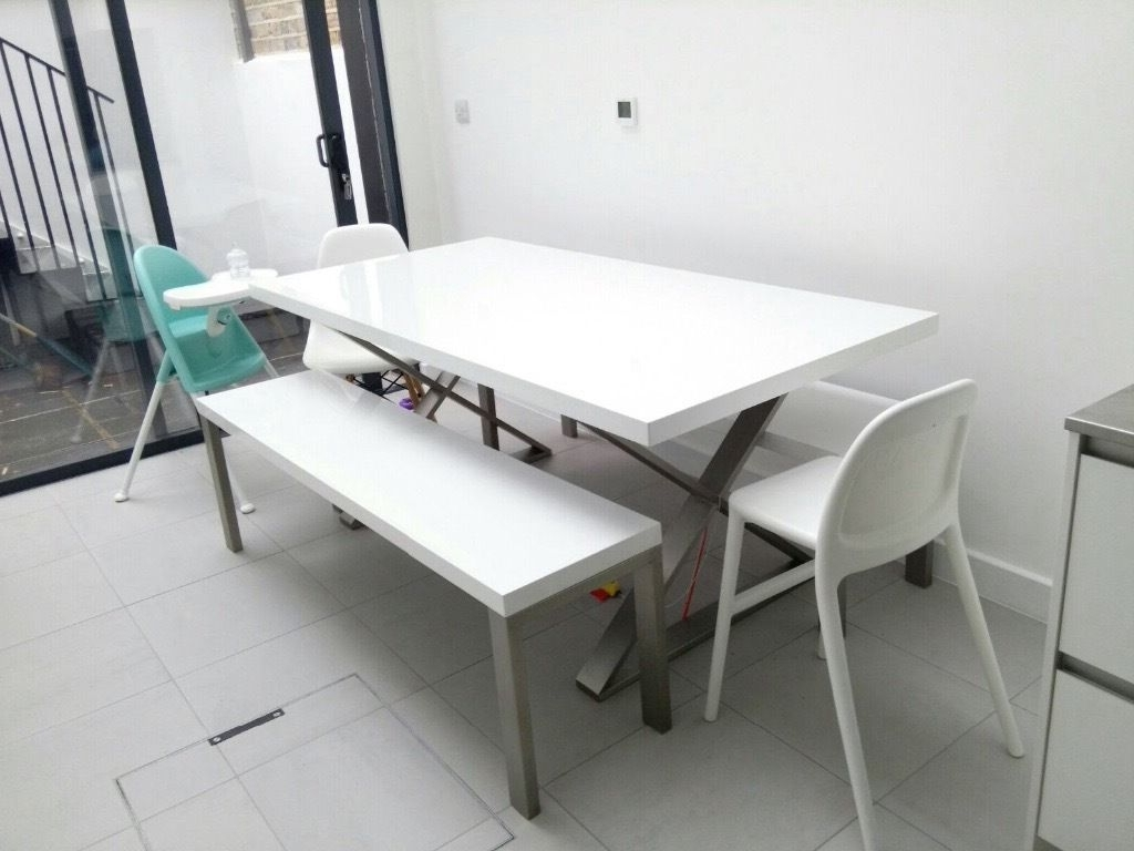Dwell Crossed Leg Gloss Dining Table White + 2 Manhattan High Gloss within Widely used White Gloss Dining Furniture
