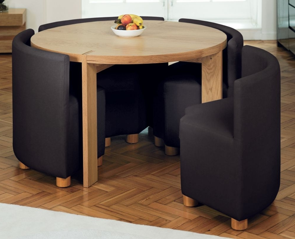 Dwell – Rotunda Dining Table With Chairs Oak (View 10 of 25)