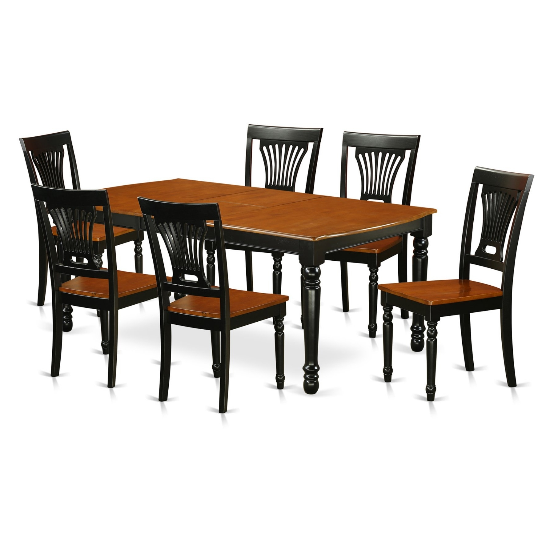 East West Furniture Dover Dopl7 Seven Piece Extension Dining Table in Most Current Parquet 6 Piece Dining Sets