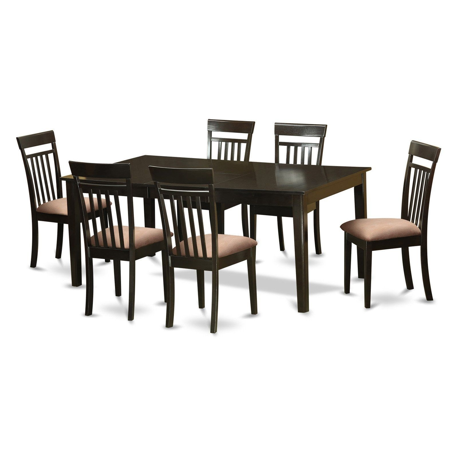 East West Furniture Henley 7 Piece Extension Dining Table Set With in Most Popular Rocco Extension Dining Tables