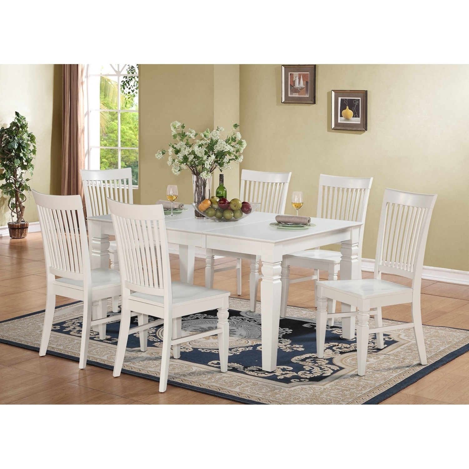 East West Furniture West7 Whi W – Weston 7 Piece White Dining Set Within Fashionable White Dining Sets (View 14 of 25)