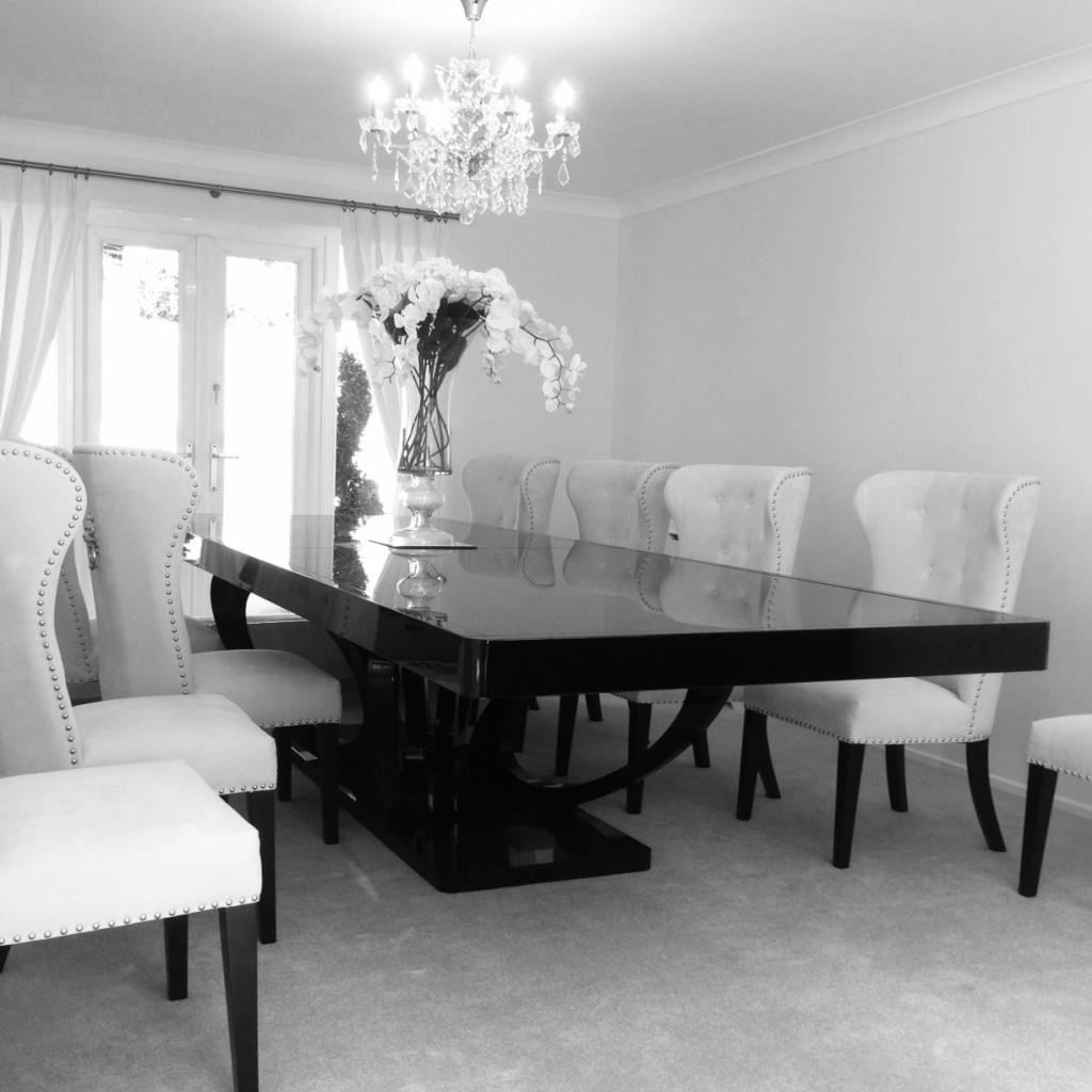 Eclipse Bespoke High Gloss Or Wood Veneer 3M Dining Table : F D pertaining to 2018 Black Gloss Dining Furniture
