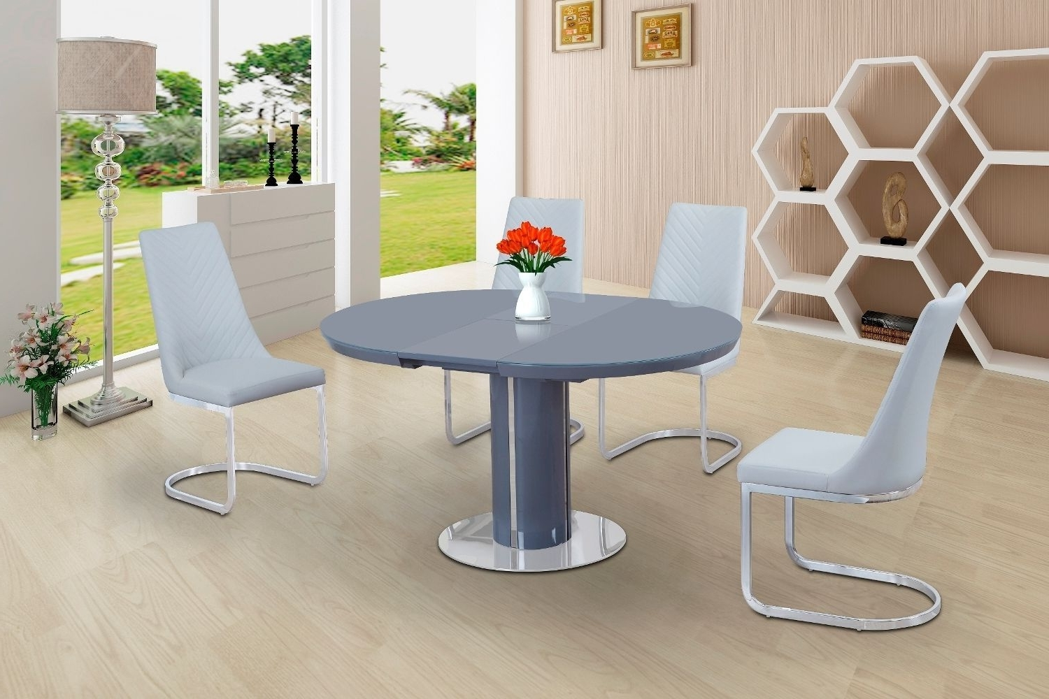 Eclipse Round Oval Gloss & Glass Extending 110 To 145 Cm Dining in Popular Gloss Dining Set