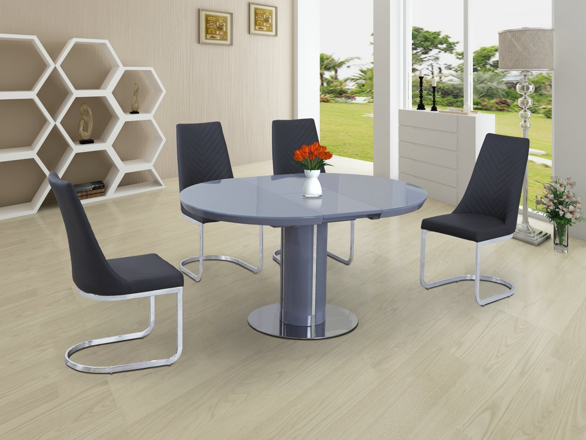 Eclipse Round / Oval Gloss & Glass Extending 110 To 145 Cm Dining Table - Grey in Most Recently Released Glass Extending Dining Tables