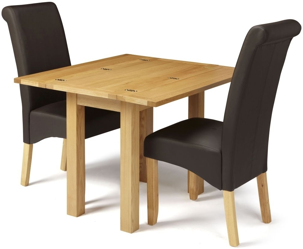 Edward Oak Extending Dining Set With 2 Kingston Brown Faux Leather Throughout Most Up To Date Oak Leather Dining Chairs (View 21 of 25)