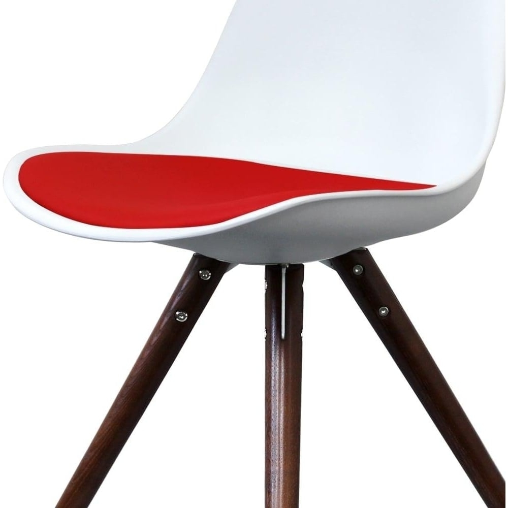 Eiffel Inspired White And Red Dining Chair With Pyramid Dark Wood Legs with Fashionable Red Dining Chairs