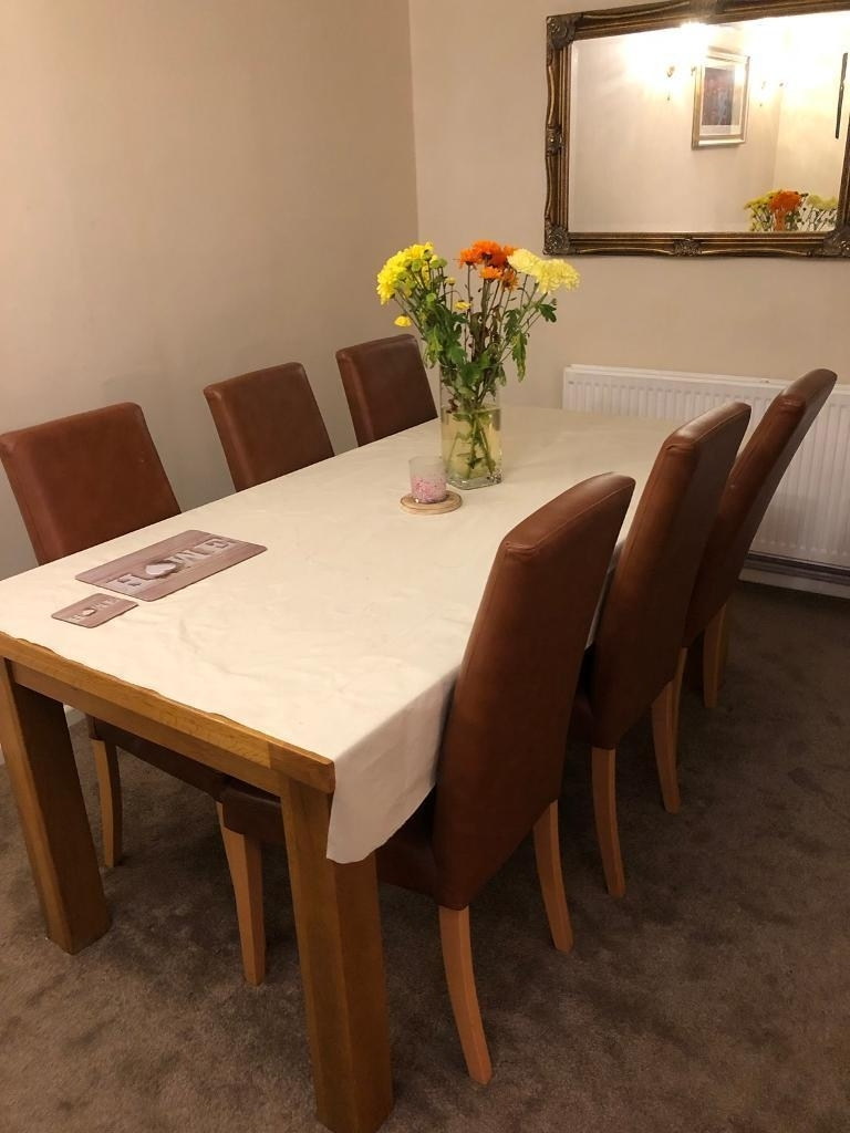 Eight Seater Dining Tables And Chairs Within Best And Newest Solid Oak 8 Seater Dining Table And Chairs (View 21 of 25)