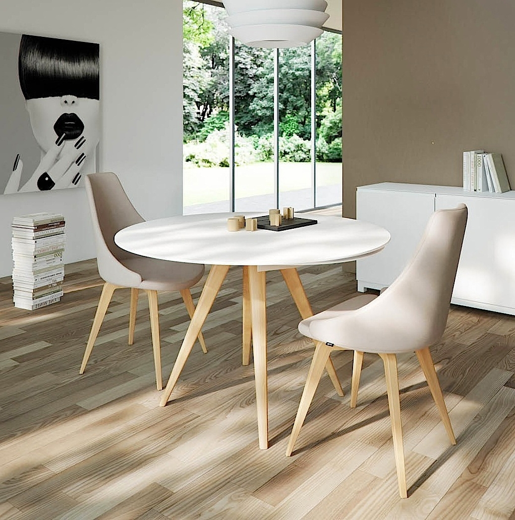 Elan Legno Round Extending Dining Table - Aflair For Home pertaining to Well-liked Round Extendable Dining Tables