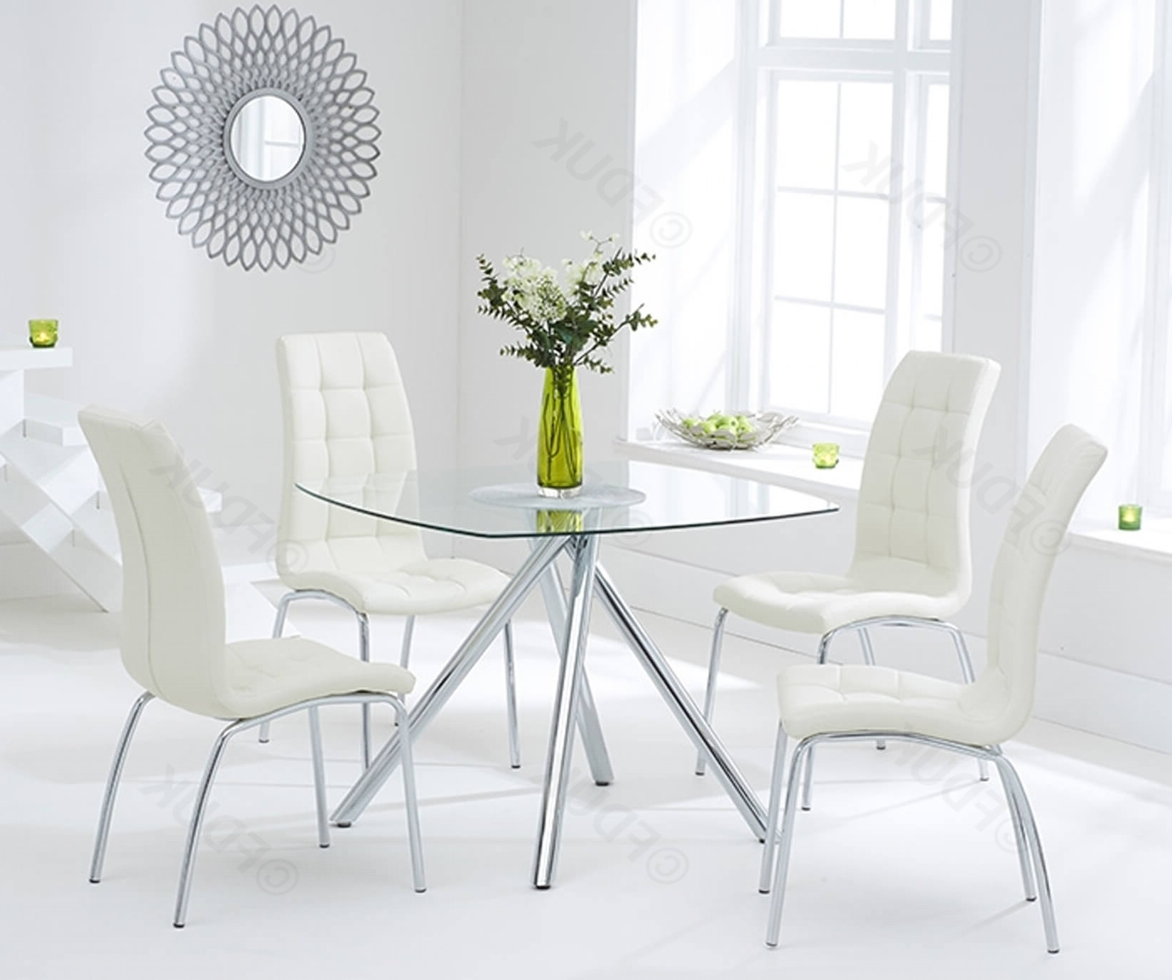Elba Glass Dining Table With 4 California Cream (View 11 of 25)