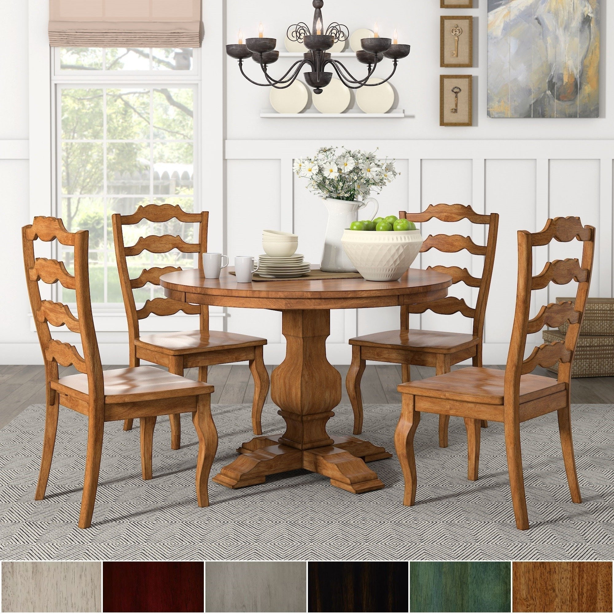 Eleanor Oak Round Soild Wood Top Ladder Back 5-Piece Dining Set regarding Most Recently Released Caden 5 Piece Round Dining Sets With Upholstered Side Chairs