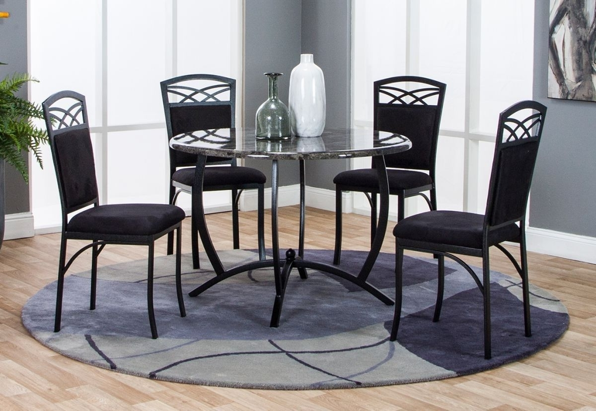 Electra 5 Pc Dining Room Intended For Famous Caira Black 5 Piece Round Dining Sets With Diamond Back Side Chairs (Gallery 5 of 25)