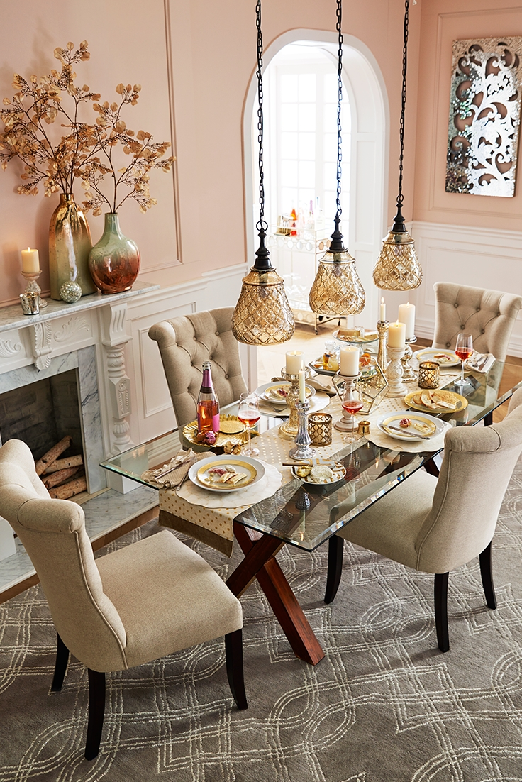 Elegant Touches Add Up To A Thanksgiving Dinner That Dazzles. Start Within 2017 Glasses Dining Tables (Gallery 25 of 25)