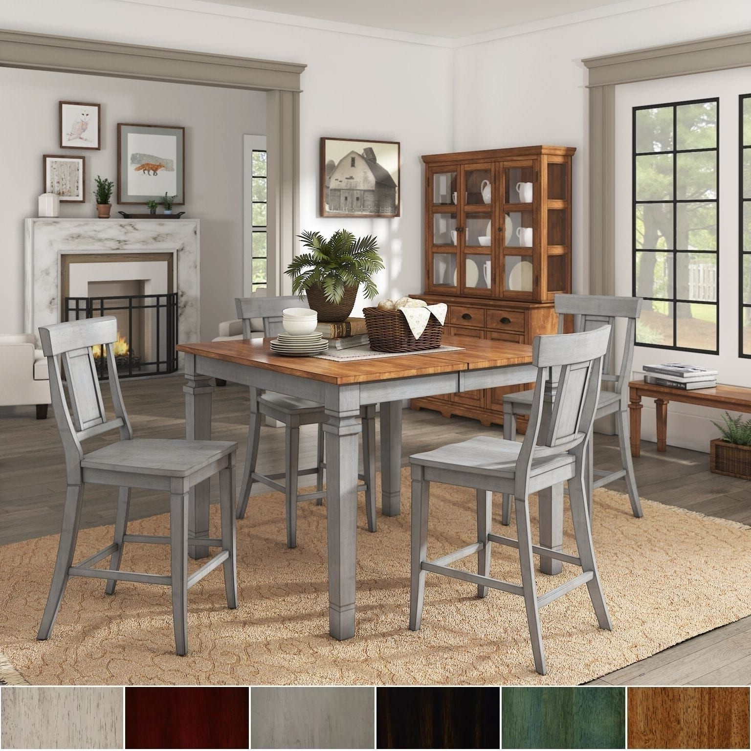 Elena Antique Grey Extendable Counter Height Dining Set – Panel Back Inside Widely Used Jameson Grey 5 Piece Counter Sets (View 18 of 25)