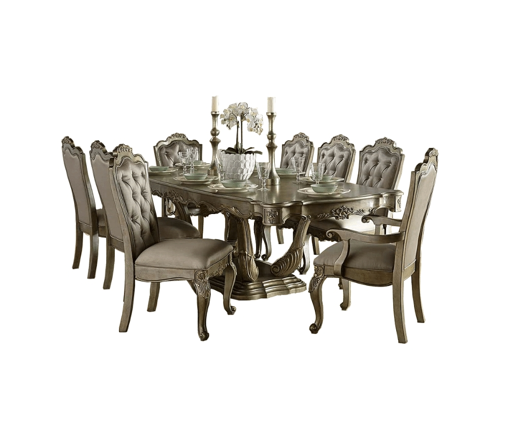 Eliana 9Pc. Dining Set - Decorium Furniture with regard to Well known Jaxon 6 Piece Rectangle Dining Sets With Bench & Uph Chairs
