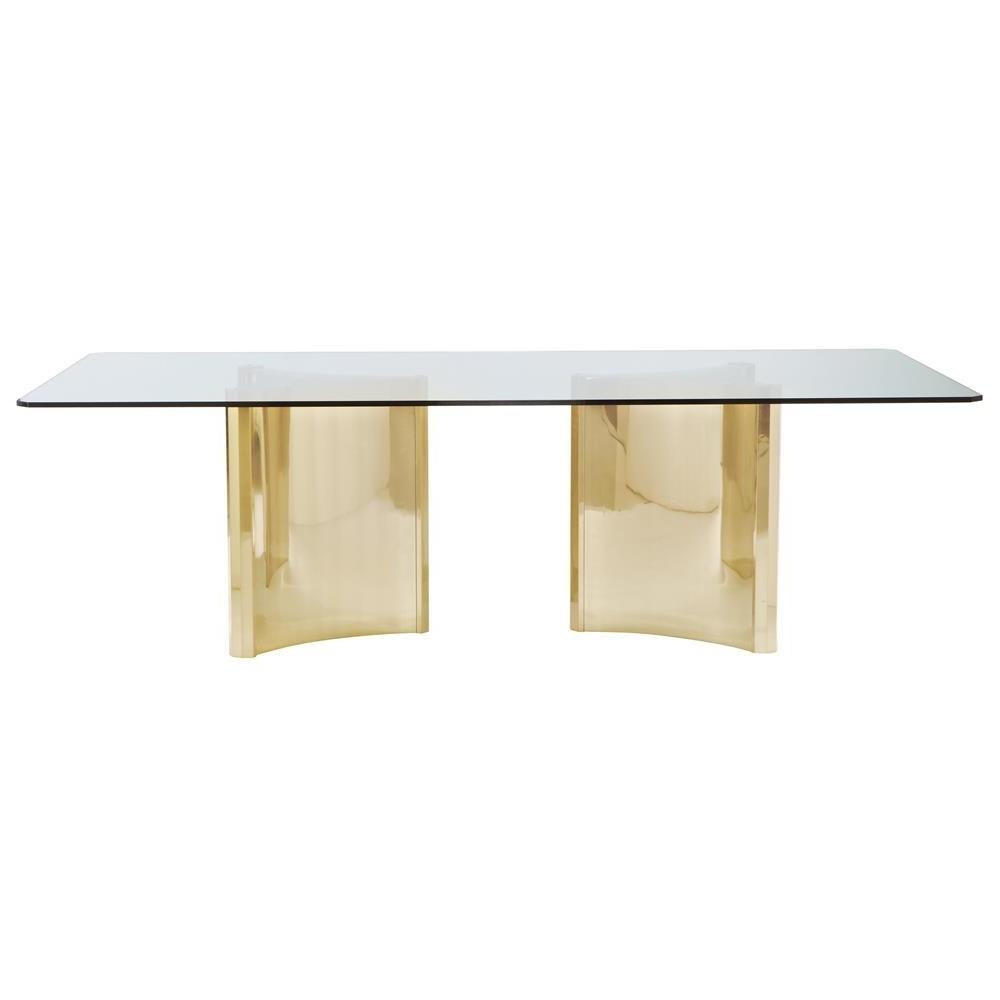 Ellen Modern Sleek Gold Double Pedestal Glass Dining Table (View 8 of 25)