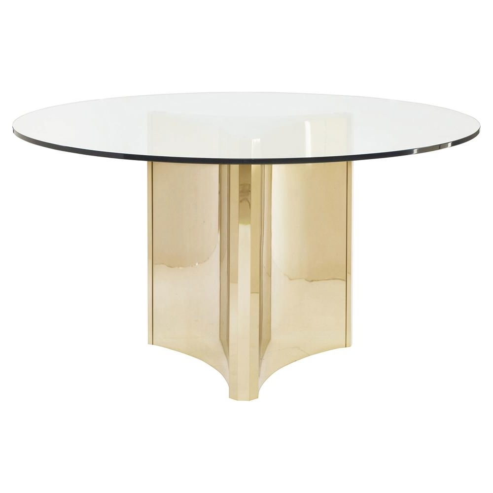 Ellen Modern Sleek Gold Round Glass Top Dining Table (View 5 of 25)