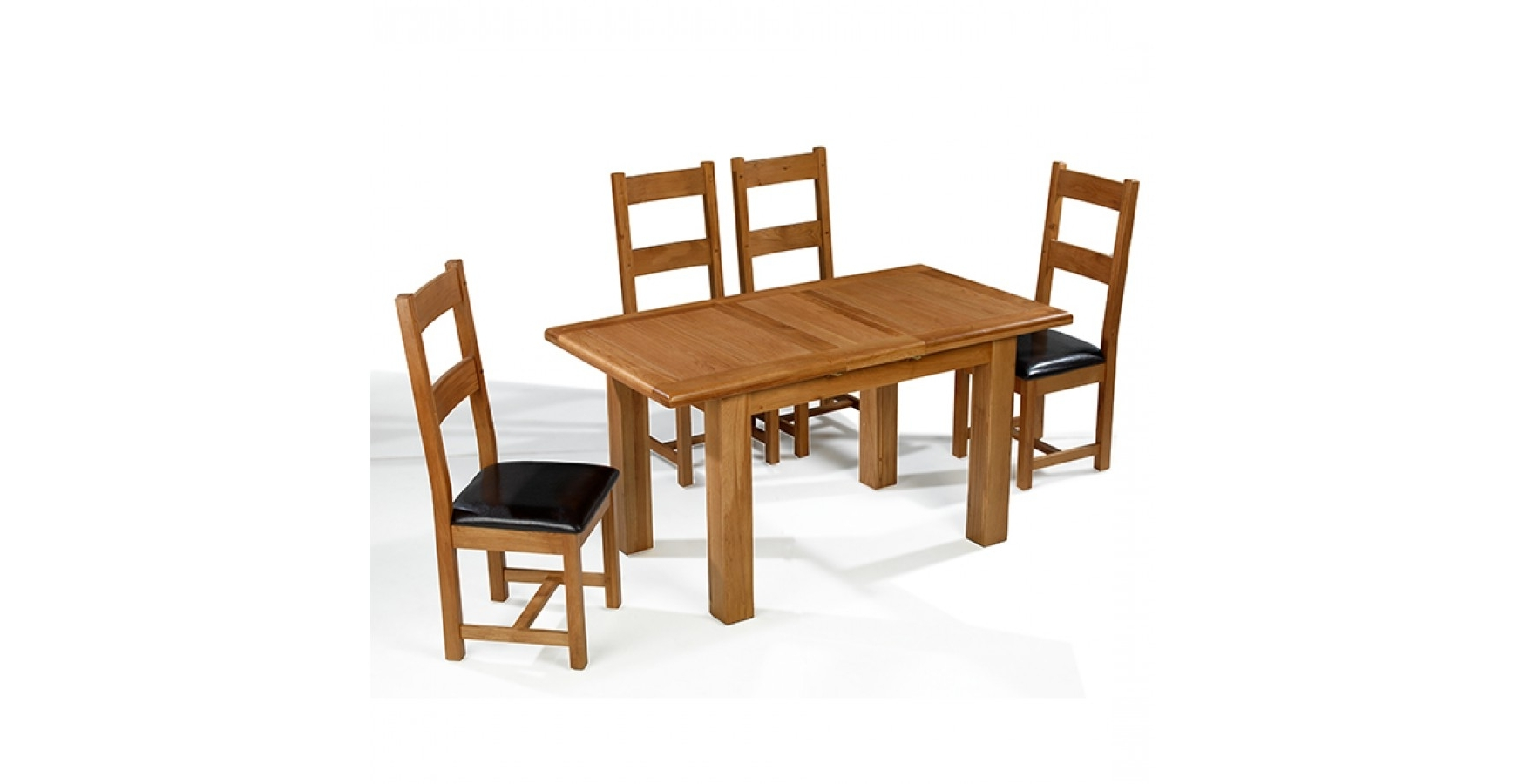 Emsworth Oak 132 198 Cm Extending Dining Table And 4 Chairs Intended For Most Up To Date Extending Dining Tables Sets (View 2 of 25)