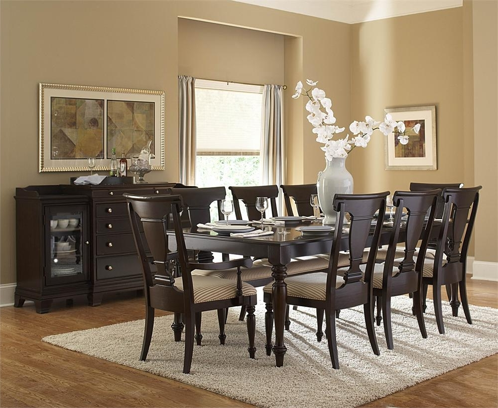 Enchanting Dining Room Interior Decorations With Dark Brown Wooden with regard to Most Current Dark Brown Wood Dining Tables