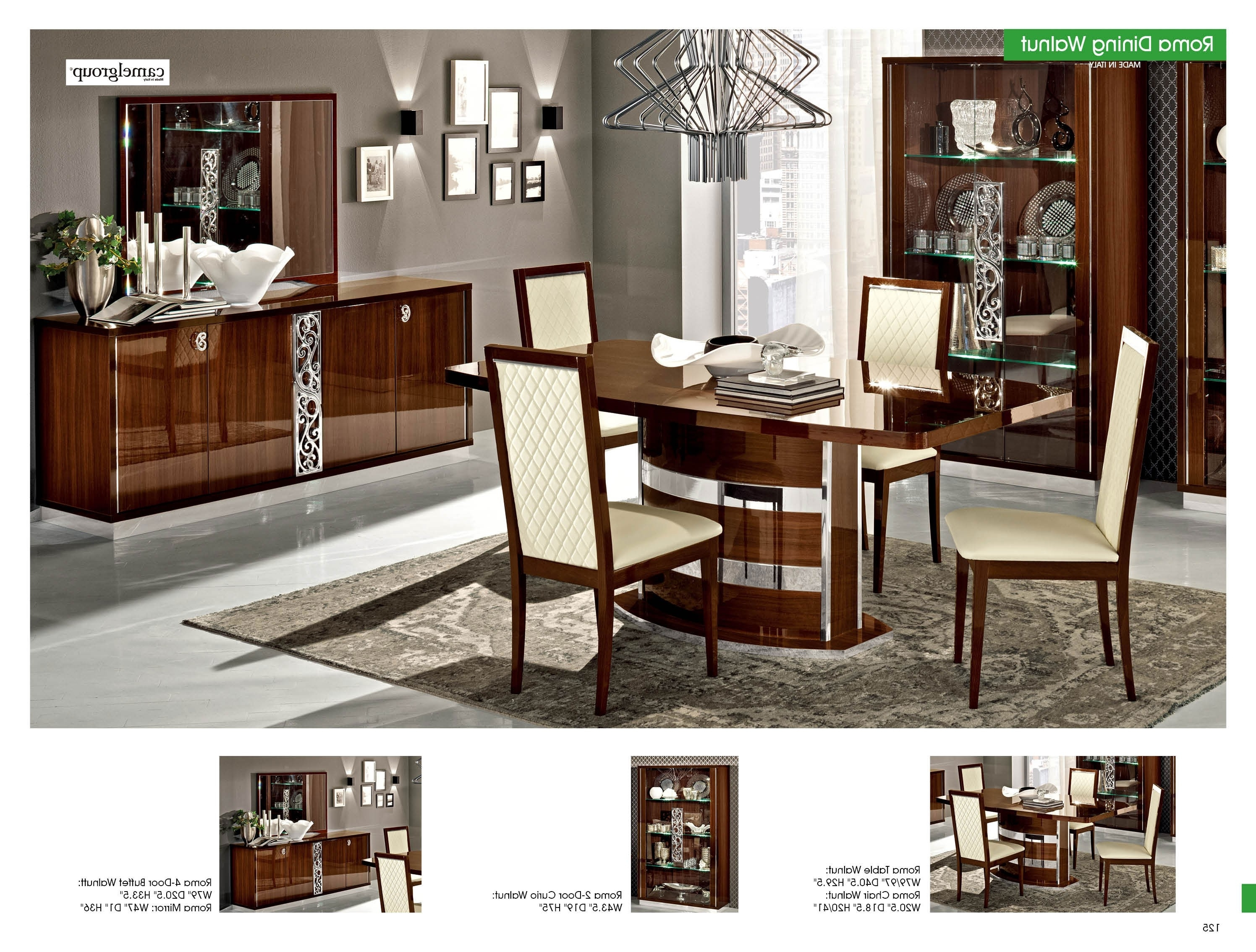 Esf Roma Walnut Dining Set – Chandelier Light Mall For Well Known Roma Dining Tables (View 12 of 25)