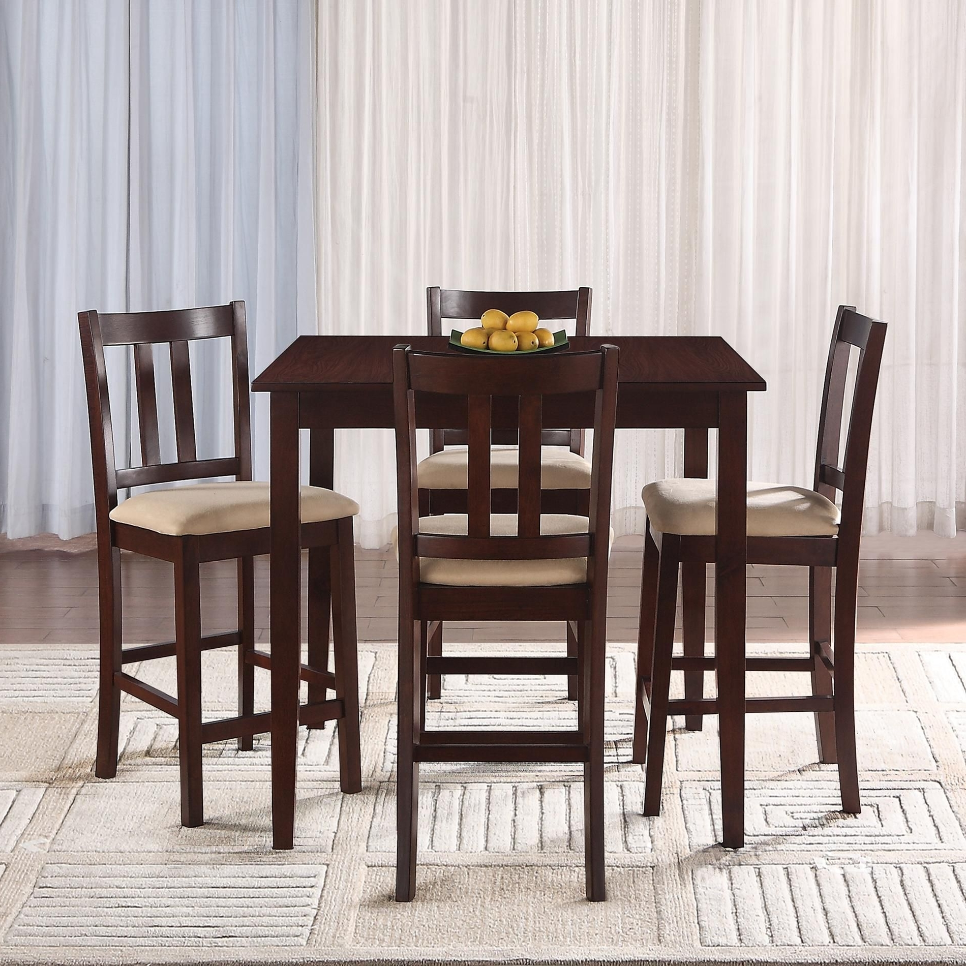 Essential Home Hayden 5-Piece Upholstered Dining Set With Rich regarding Preferred Pierce 5 Piece Counter Sets