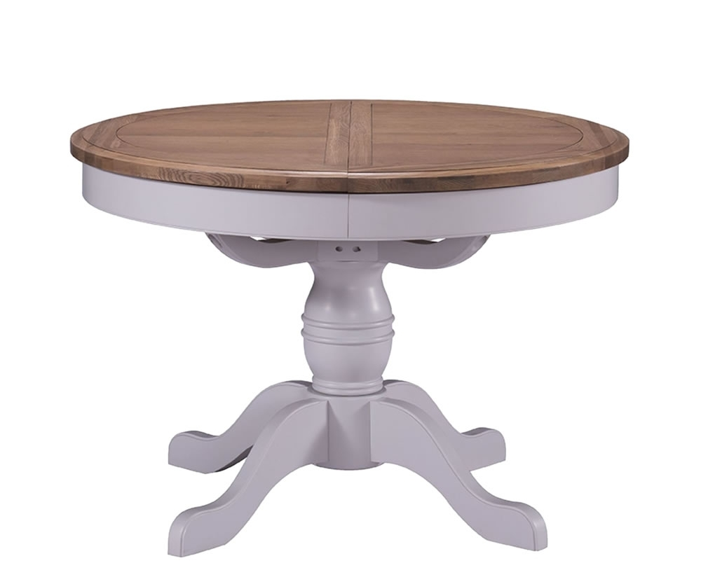 Everette Two Tone Round Extending Dining Table Inside Favorite Small Round Extending Dining Tables (View 8 of 25)