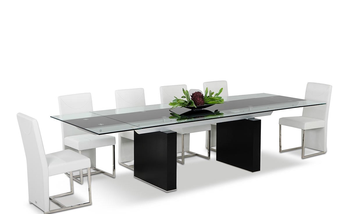 Extendable Black Glass Top Wooden Red Oak Legs Dining Table within Widely used Glass Dining Tables With Oak Legs